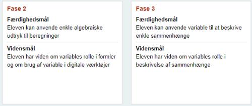 læremål algebra danmark